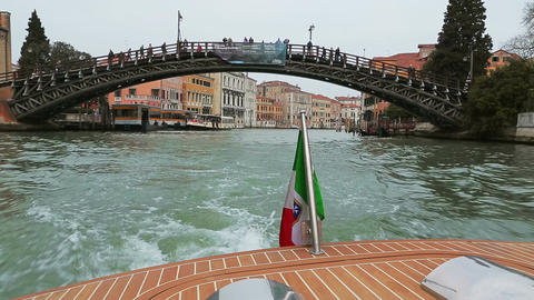 Walk on the boat on the channels of Venice Footage