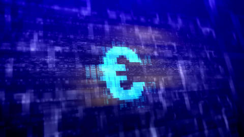 Euro sign on a dark blue background Animation