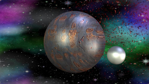 Fantasy metallic planet rotating in cosmos with her month, another red planet ex Animation