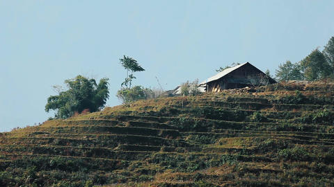 House at terraced mountains in Sa Pa Footage