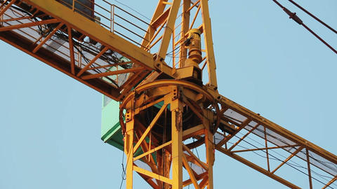 Yellow construction crane turns Footage
