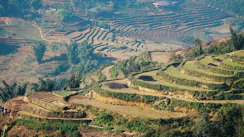 Terraced mountains in Sa Pa Footage