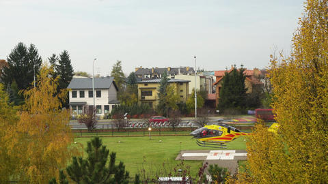 Yellow Helicopter Taking Off Footage