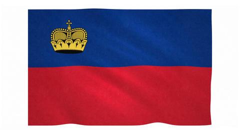 Flag of Liechtenstein waving on white background Animation