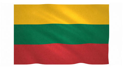 Flag of Lithuania waving on white background Animation