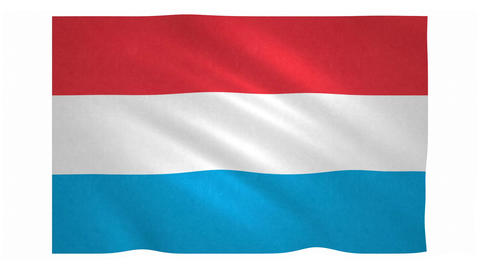 Flag of Luxembourg waving on white background Animation