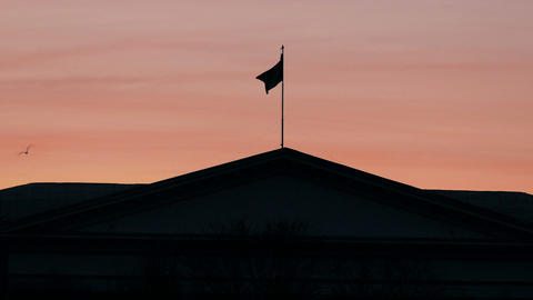 1080p Abstract National Flag on Roof of Official Building Fluttering Footage