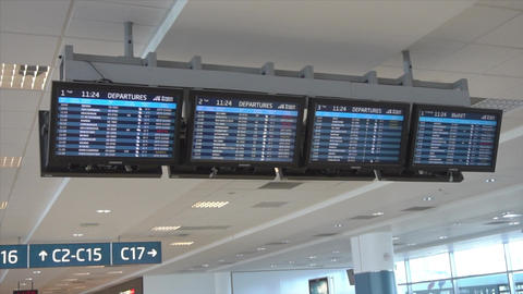Flights Information Board in an Airport Terminal Footage