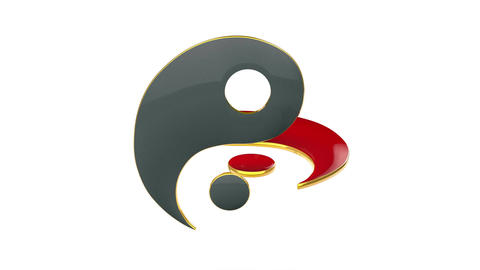 Yin-Yan (constant struggle of two opposites). Eastern culture and philosophy. 3D Animation
