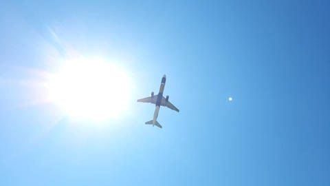 Passenger plane takes off on a sunny day Footage