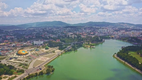 Flycam Moves over Quiet Lake with Large City on Bank Footage