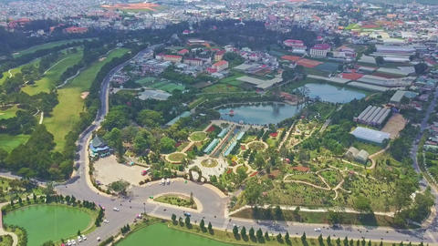 Aerial View Wonderful Modern City with Large Parks and Lake Footage