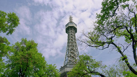 A View of a Telecommunication Tower Among Trees Footage