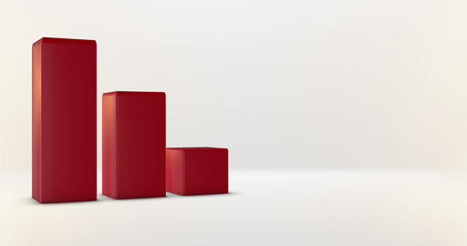 Red Bar Graph with room for graphic info on white background Animation