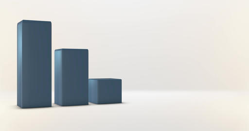 Blue Bar Graph with room for graphic info on white background Animation