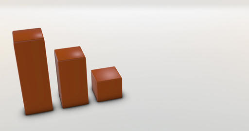 Aerial perspective of three orange bar graph on white ambient floor Animation