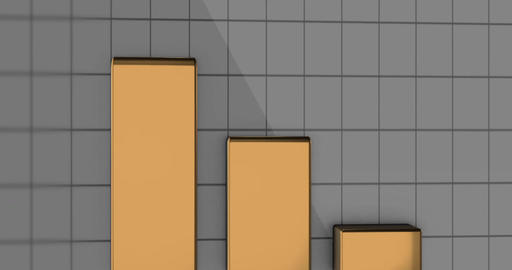 Gold Metallic Financial Bars rise up on grid background Animation
