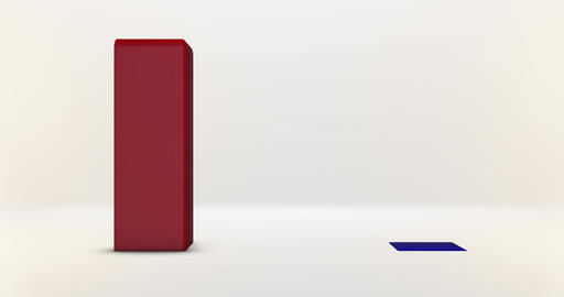 A Red and Blue Bar graph rises up from white background Animation