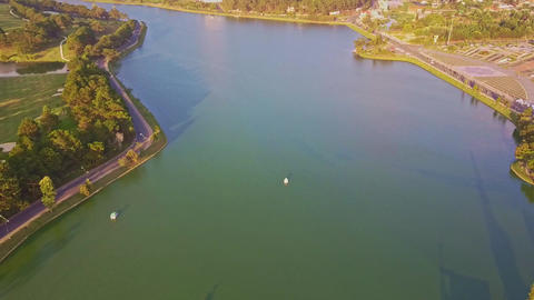 Drone Shows Panoramic View Wide Lake among Green Park Footage