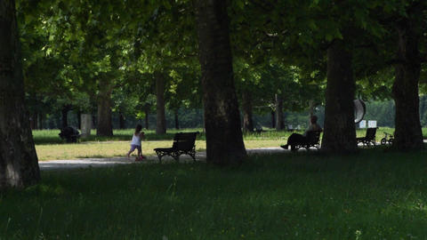 Calm day in the park A girl passes on a scooter. Man sits on the bench. 25fps Footage