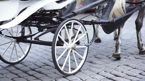 White carriage and wheels with wooden rim Footage