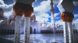 Sheikh Zayed Grand Mosque - View from between the columns - Timelapse 4K Animation