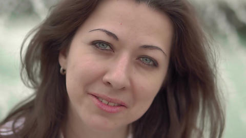 Portrait of young caucasian woman close-up Footage