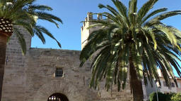 Spain Mallorca Island Alcudia 014 old city gate with tall palm trees Footage