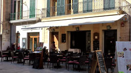 Spain Mallorca Island Alcudia 020 street cafe with outside seats under awning Footage