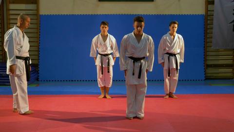 Sensei supervising karate black belt practitioners performing kata at the dojo Footage