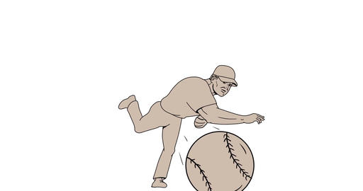 Baseball Pitcher Throwing Ball 2D Animation Animation