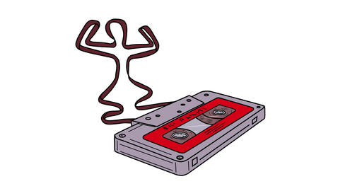 Compact Cassette Tape Man Dancing 2D Animation Animation