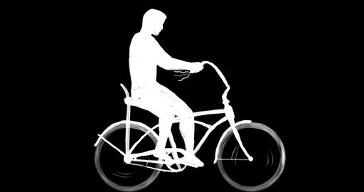 Man Riding Easy Rider Bicycle Side 2D Animation Animation