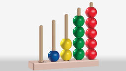 Animation of wooden five colored abacus toy Animation