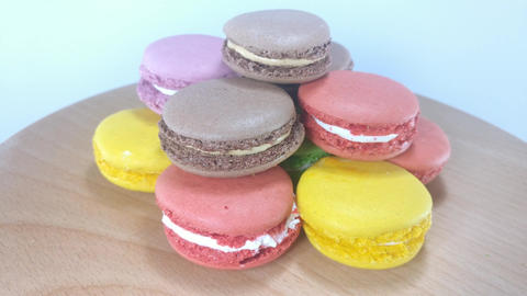 Colorful French Macaroons Footage