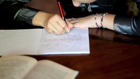girl doing homework. 6 Stock Video Footage