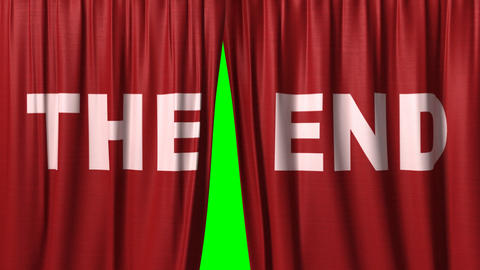 "closing red curtain with title ""the end"" Stock Video Footage"