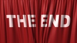 "Closing Red Curtain With Title ""the End"" stock footage"