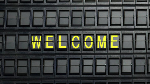 departure board welcome Stock Video Footage