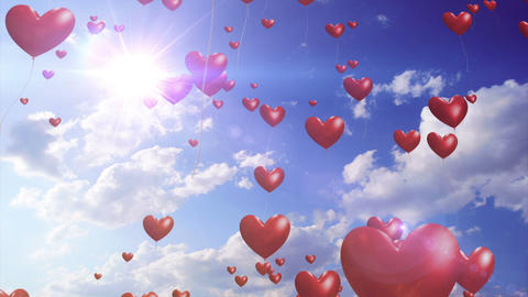 Heart Balloons - Romantic / Wedding Video Background Loop Stock Video Footage