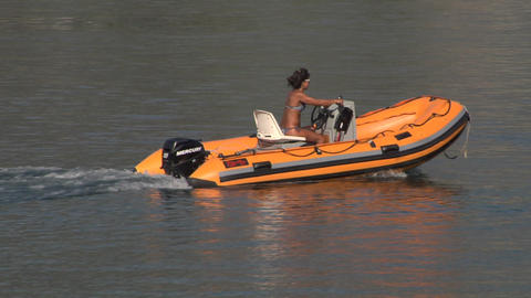 inflatable boat 05 e Stock Video Footage