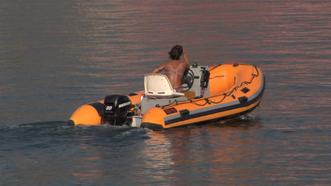 inflatable boat 07 e Stock Video Footage