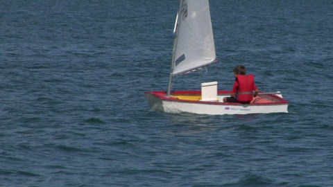 small boat sailing school 02 Stock Video Footage