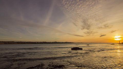 4K Pan Time Lapse Sunset Atlantic Ocean View At Tamarist Beach, In Casablanca stock footage