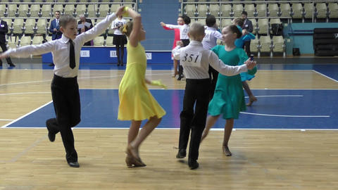Children compete in sport dancing Footage