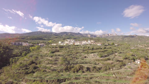 Aerial flying backwards over olive trees with Benimantell in background - Marina Footage