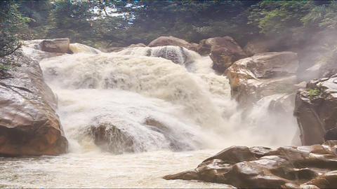 Waterfall of Mountain River Stormy Stream Among Rocks Footage