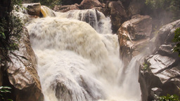 Closeup Waterfall of Mountain River Stormy Stream Among Rocks Footage