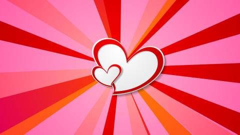 Valentine Day video animation with paper hearts Animation