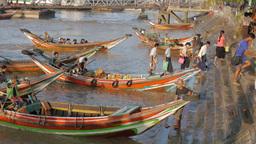 Small passenger ferries,Yangon,Burma Footage